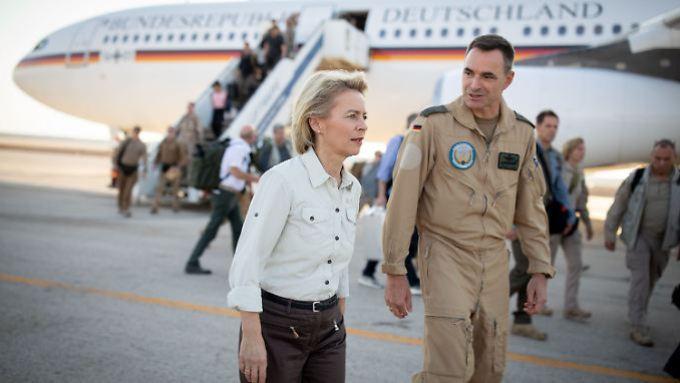 Ursula von der Leyen at the Air Force Base in the Jordanian Al Azraq.