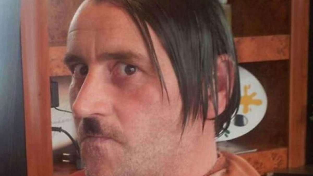 German Pegida fuehrer Lutz Bachmann, disguising himself as Adolf Hitler