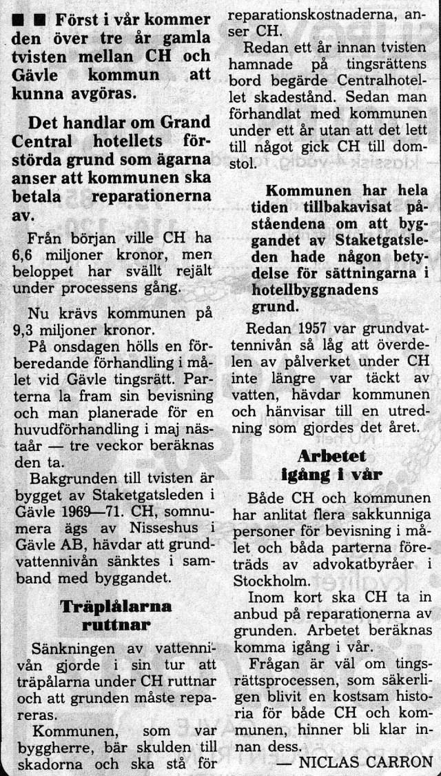 29 november 1984: Tvisten om CH:s grund avgörs i vår.