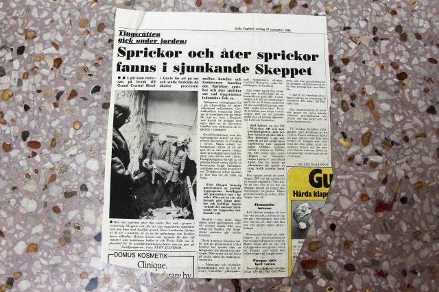 27 november 1985: Tingsrätten gick under jorden: Sprickor och åter sprickor fanns i sjunkande Skeppet.