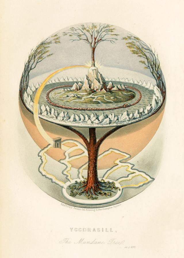 Världsträdet Yggdrasil illustrerat på en engelsk översättning av Snorres Edda från mitten av 1800-talet.