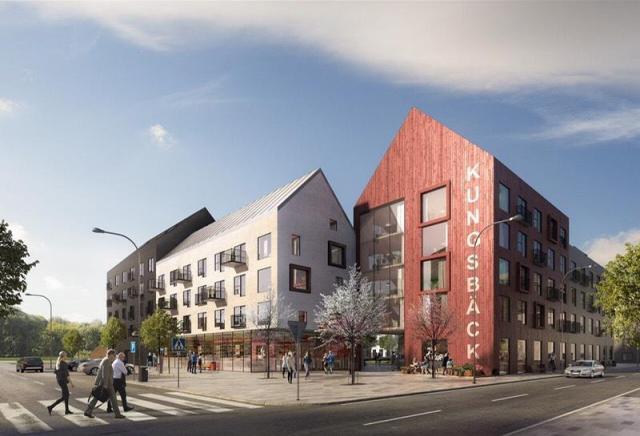 En skiss från K2A-koncernen på fastigheter på Kungsbäck-området vid Högskolan i Gävle.