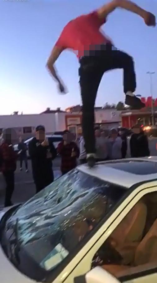 Epabråk i Sandviken. Skärmdump från Youtube.