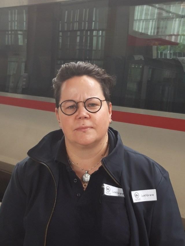 Anna Bergström, lokförare på Upptåget och vice ordförande på fackförbundet Seko Gävle-Dala