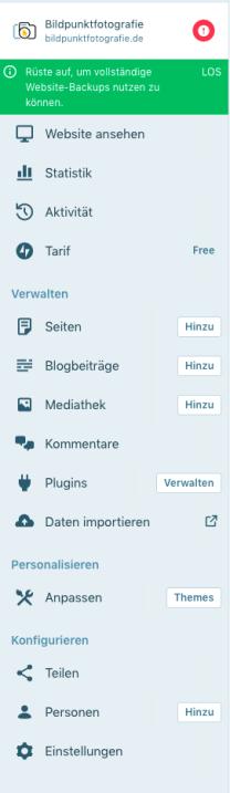 Screenshot des Dashboards einer Webseite unter wordpress.com mit der Darstellung der einzelnen Funktionen der WordPress Seite, wie z. B. Seiten, Blogbeiträge