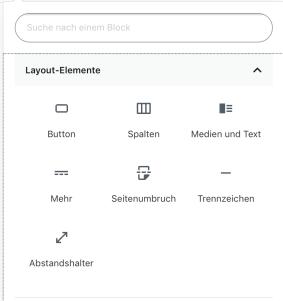 Screenshot der Layout Elemente des neuen Gutenberg Editors