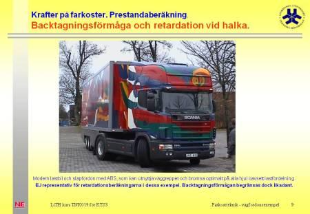 Scania dragbil med semitrailer vid utställning på Linköpings universitet