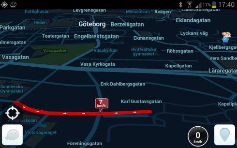 Skärmdump från Waze med indikerad trafikstockning på en av Göteborgs gator.