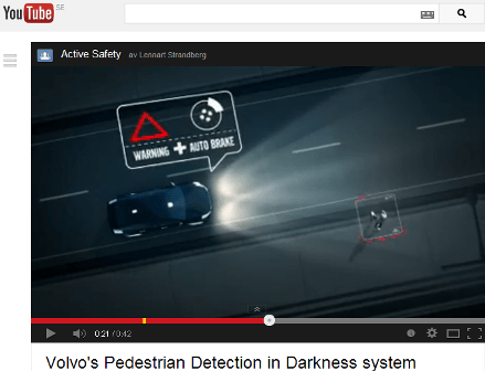 Skärmdump av video på YouTube om Volvo's Pedestrian Detection in Darkness System