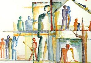 Vier Lebensbereiche I - aquarell, themenbilder