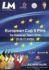 Locandina campionato Europeo di Biliardo a squadre 2016