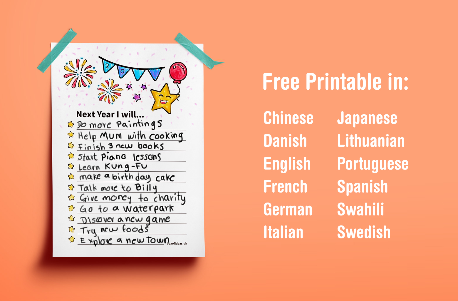 Multil Language Printable New Year Resolutions For Kids