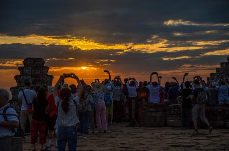 Angkor Archeological Site at sunset