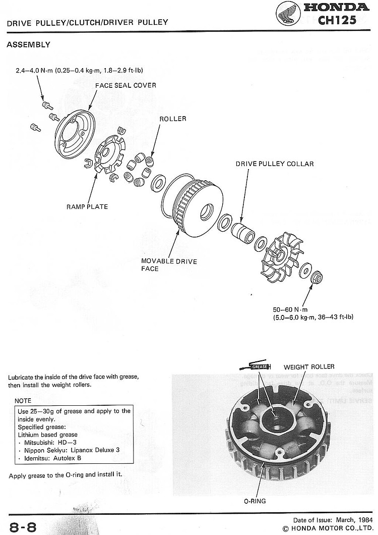 Honda CH125 Shop Manual Page 8-8