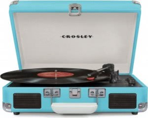 Crosley CR8005D-TU Cruiser Portable 3-Speed Turntable with Bluetooth (Turquoise)