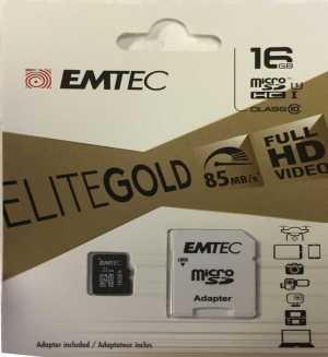 EMTEC 16GB ELITEGOLD mSD CARD 85MB/S - #2769