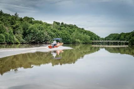 Brunei River Boat and Bridge