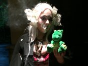 Windsor, the Grumpy Dragon, joins a sci-fi belly dancer for a smoke break