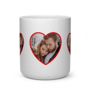 Custom Photo Heart Shaped Coffee Mug-Anniversary-Love-Gifts