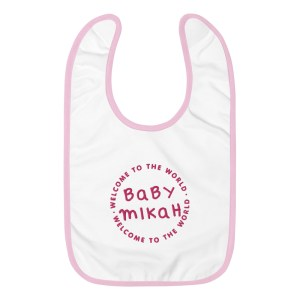 Custom Embroidered Baby Bib - Pink