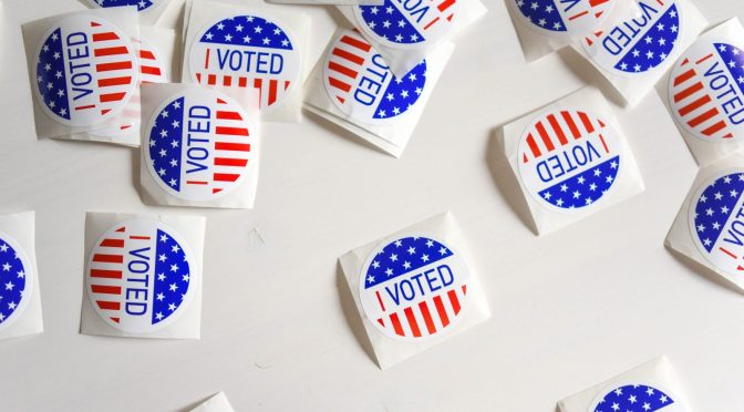 "A group of ""I Voted"" stickers."