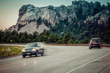 South Dakota highway 244 passing by Mount Rushmore National Memorial.