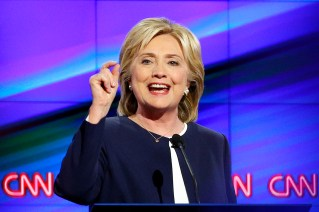 """In this Oct. 13, 2015, photo, Democratic presidential candidate Hillary Rodham Clinton speaks during the Democratic presidential debate in Las Vegas. It seems like there was a 15-year virtual gag order on guns in presidential politics. But Democrats are talking again about the issue. President Barack Obama is considering taking more executive action. Clinton says she's had """"enough"""" of the legislative stalemate on guns. (AP Photo/John Locher)"""