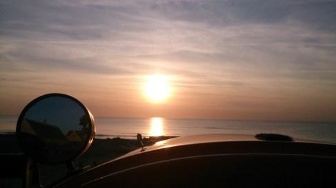 Sol på vej ned ved Skagen 5 Maj