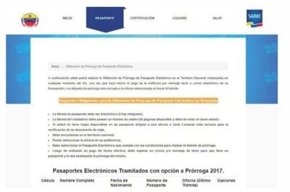 solicitar prorroga pasaporte venezuela