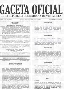 gaceta oficial salario minimo venezuela junio 2018