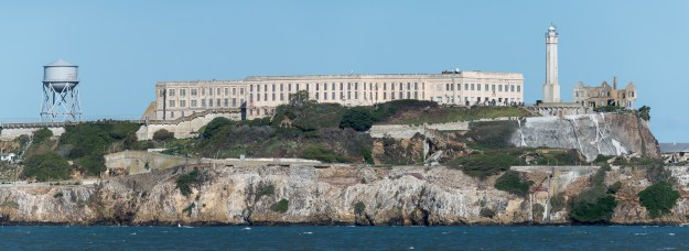 Alcatraz. Panoramic stitch made with Nikon D610 and Nikkor 200-500mm f/5.6E at 500mm, f/10, ISO 800, 1/2000-second