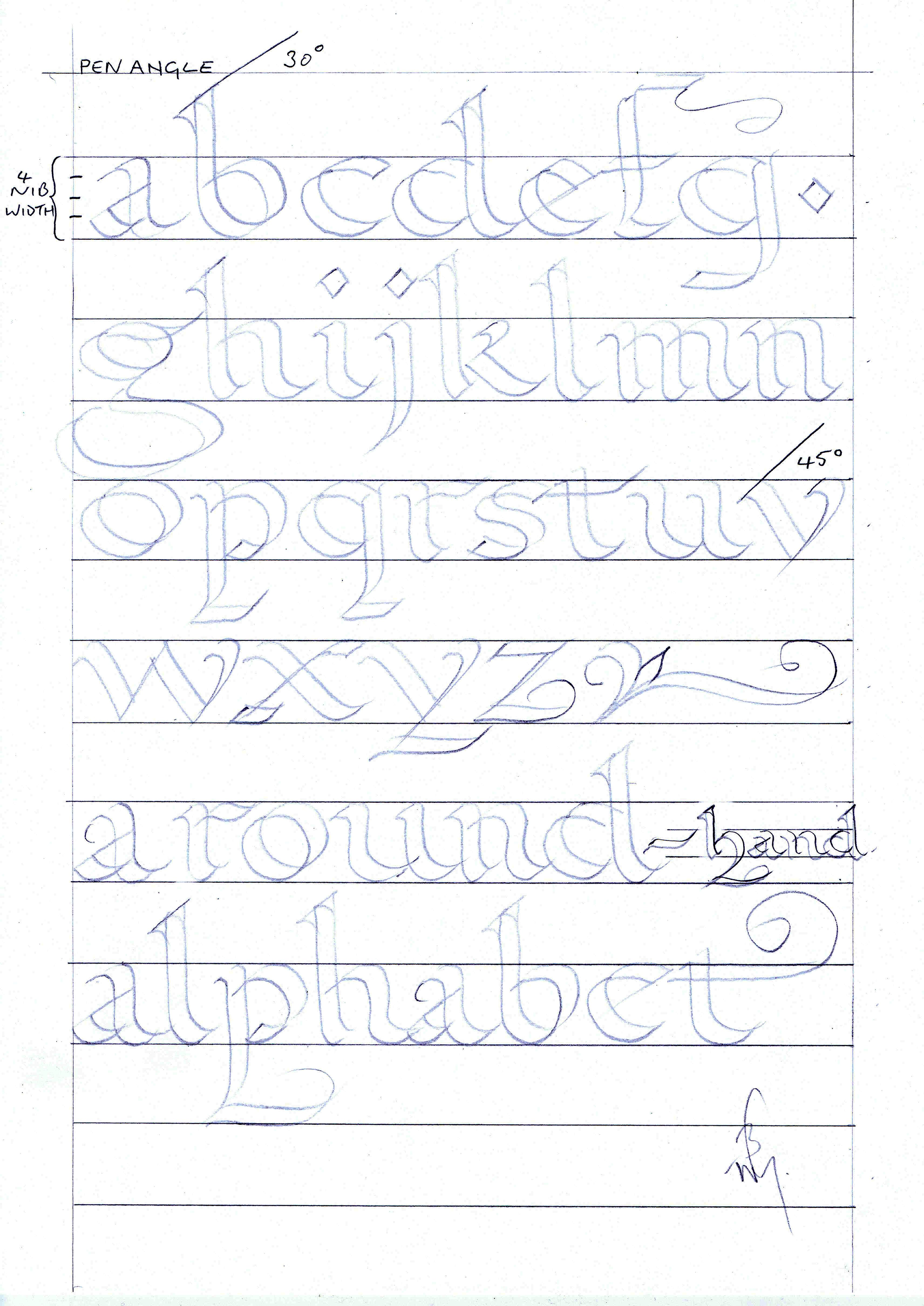 Roundhand Alphabet