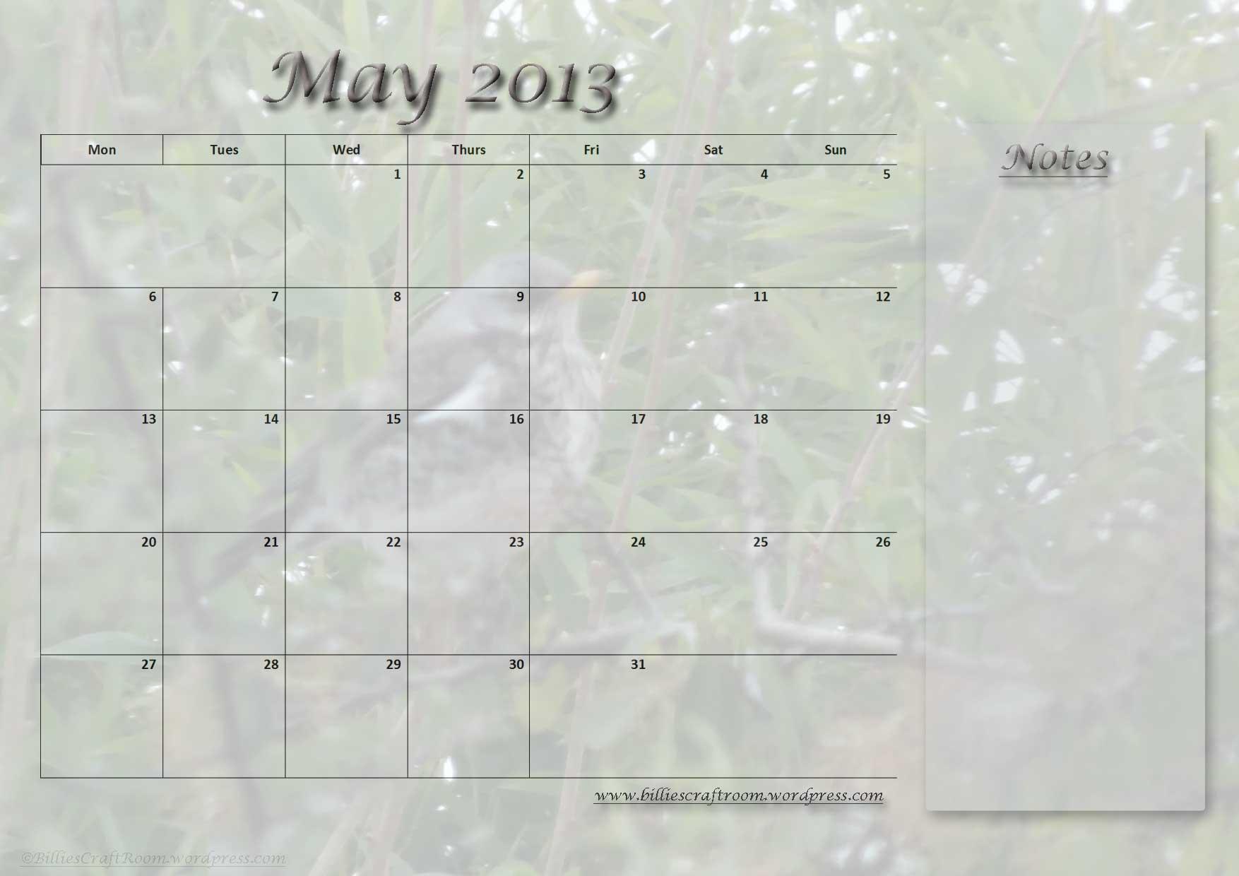 May 2105 Calendar