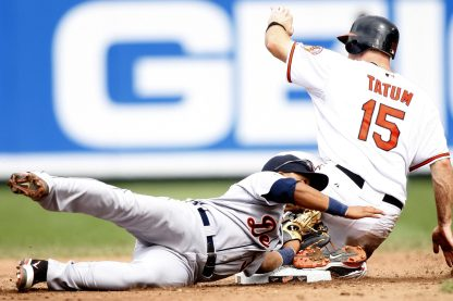 """""""Baltimore Orioles catcher Craig Tatum slides safely into second base in the sixth inning of a baseball game against the Detroit Tigers Sunday, August 14, 2011 in Baltimore."""""""