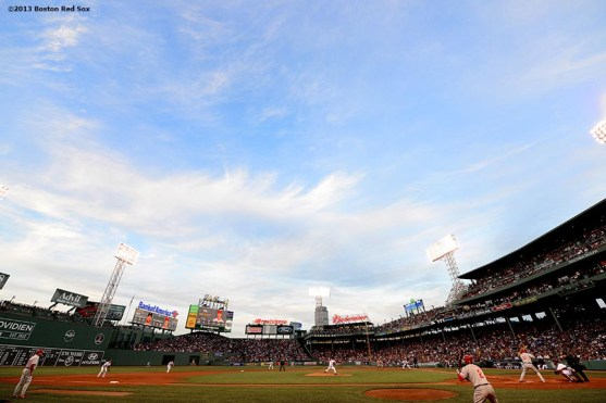 """""""Fenway Park is shown during a game between the Boston Red Sox and the Philadelphia Phillies Tuesday, May 28, 2013 in Boston, Massachusetts."""""""