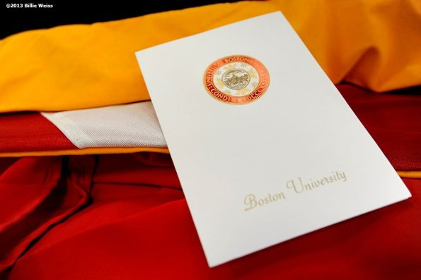 """""""An invitation to the 140th Commencement at Boston University is displayed Friday, May 17, 2013 in Boston, Massachusetts."""""""