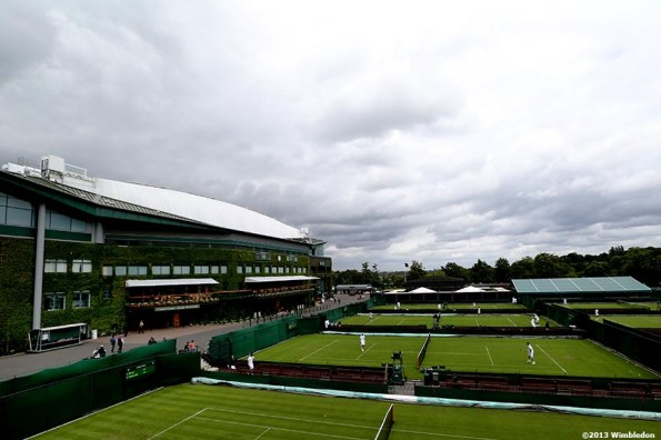 """""""Centre Court and the outer courts are shown at the All England Lawn and Tennis Club in London, England Saturday, June 22, 2013 before the start of the 2013 Championships Wimbledon."""""""