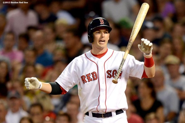 """""""Boston Red Sox shortstop Stephen Drew reacts after striking out during the fourth inning of a game against the Seattle Mariners Tuesday, July 30, 2013 at Fenway Park in Boston, Massachusetts."""""""