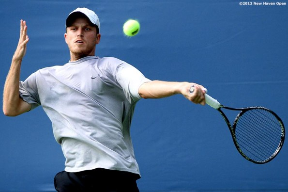 """""""Jeff Dadamo hits a forehand during a US Open National Playoff match on Day 2 of the New Haven Open at Yale University in New Haven, Connecticut Saturday, August 17, 2013."""""""