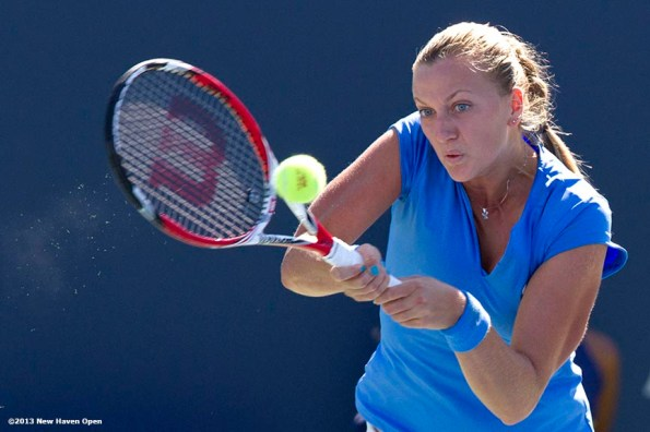 """""""Petra Kvitova hits a backhand against Simona Halep during the finals of the New Haven Open at Yale University in New Haven, Connecticut Saturday, August 24, 2013."""""""