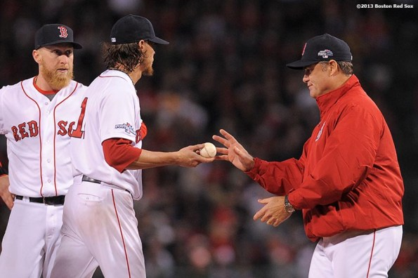 """""""Boston Red Sox pitcher Clay Buchholz gives the ball to manager John Farrell as Buchholz exits the game during the sixth inning of game two of the American League Championship Series against the Detroit Tigers Sunday, October 13, 2013 at Fenway Park in Boston, Massachusetts."""""""