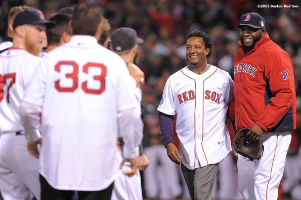 """""""Former Boston Red Sox pitcher Pedro Martinez is introduced alongside David Ortiz during a pre-game ceremony before game two of the 2013 World Series between the Boston Red Sox and the St. Louis Cardinals Thursday, October 24, 2013 at Fenway Park in Boston, Massachusetts."""""""
