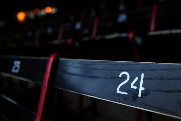 """""""A seat displaying the number 24 is shown at Fenway Park in Boston, Massachusetts Friday, November 22, 2013."""""""