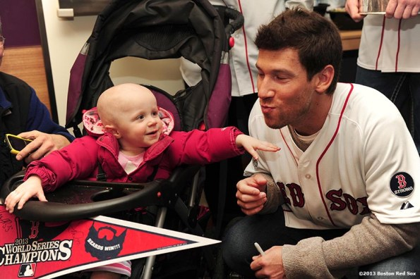 """""""Scarlett Rohnke, a two and a half year-old patient at The Jimmy Fund, plays with Boston Red Sox pitcher Craig Breslow during a visit to The Jimmy Fund at Dana-Farber Cancer Institute in Boston, Massachusetts Friday, December 13, 2013 as part of the Red Sox Holiday Caravan to various locations throughout Boston."""""""