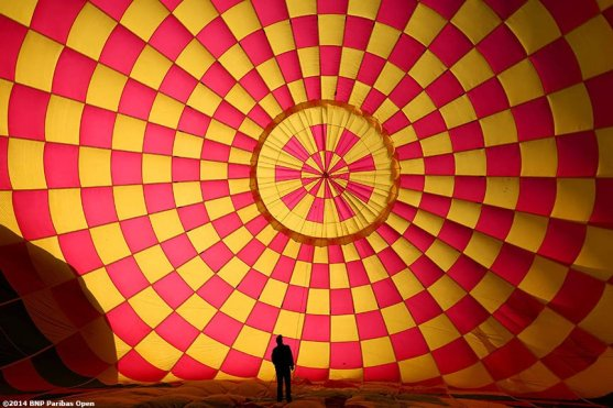 """""""A hot air balloon is set up before a ride above the Coachella Valley with WTA player Lucie Safarova in Indian Wells, California Monday, March 3, 2014."""""""
