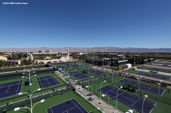 """""""An aerial view of the Indian Wells Tennis Garden is shown Saturday, March 8, 2014 in Indian Wells, California."""""""