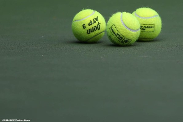 """""""BNP Paribas Open tennis balls are shown at the Indian Wells Tennis Garden Tuesday, March 11, 2014 in Indian Wells, California."""""""