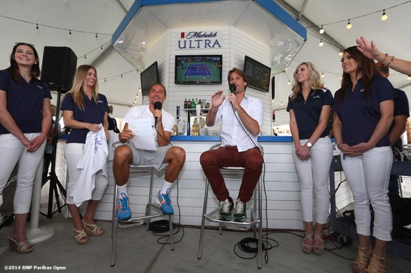 """""""Alexandr Dolgopolov chats in the Michelob ULTRA booth during the 2014 BNP Paribas Open Tuesday, March 11, 2014 in Indian Wells, California."""""""