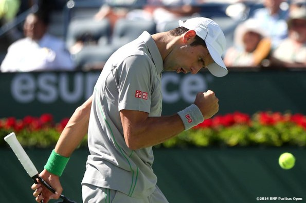 """""""Novak Djokovic reacts after winning a point against Julien Benneteau in the quarterfinal of the 2014 BNP Paribas Open Friday, March 14, 2014 in Indian Wells, California."""""""