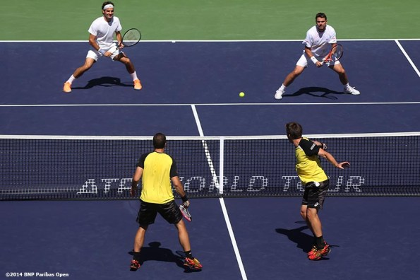 """""""Alexander Peya and Bruno Soares play Stan Wawrinka and Roger Federer in the semifinals during the 2014 BNP Paribas Open Friday, March 14, 2014 in Indian Wells, California."""""""